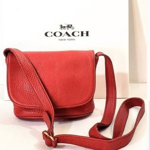 COACH #4919 Christmas Red Sonoma Bag Pebbled
